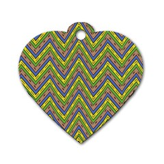 Zig Zag Pattern Dog Tag Heart (two Sides) by LalyLauraFLM