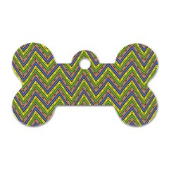 Zig Zag Pattern Dog Tag Bone (one Side)