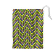 Zig Zag Pattern Drawstring Pouch (large) by LalyLauraFLM