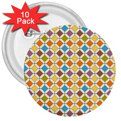 Colorful Rhombus Pattern 3  Button (10 Pack)