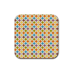 Colorful Rhombus Pattern Rubber Coaster (square) by LalyLauraFLM