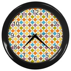 Colorful Rhombus Pattern Wall Clock (black) by LalyLauraFLM