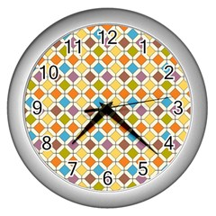 Colorful Rhombus Pattern Wall Clock (silver)