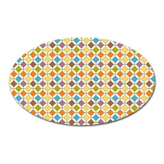 Colorful Rhombus Pattern Magnet (oval) by LalyLauraFLM