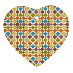 Colorful Rhombus Pattern Heart Ornament (two Sides) by LalyLauraFLM