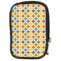 Colorful Rhombus Pattern Compact Camera Leather Case by LalyLauraFLM