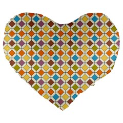Colorful Rhombus Pattern 19  Premium Heart Shape Cushion by LalyLauraFLM