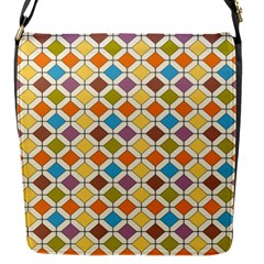 Colorful Rhombus Pattern Flap Closure Messenger Bag (small)