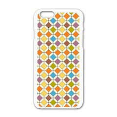 Colorful Rhombus Pattern Apple Iphone 6 White Enamel Case by LalyLauraFLM