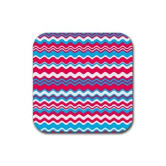 Waves Pattern Rubber Coaster (square) by LalyLauraFLM