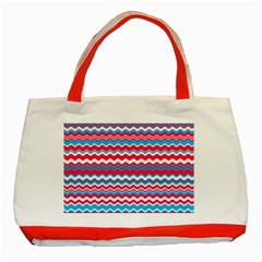 Waves Pattern Classic Tote Bag (red) by LalyLauraFLM