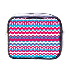 Waves Pattern Mini Toiletries Bag (one Side) by LalyLauraFLM
