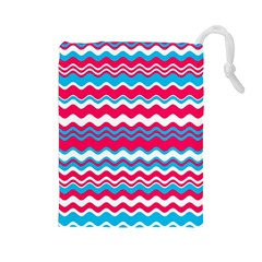 Waves Pattern Drawstring Pouch (large) by LalyLauraFLM