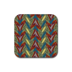 Shapes Pattern Rubber Coaster (square) by LalyLauraFLM