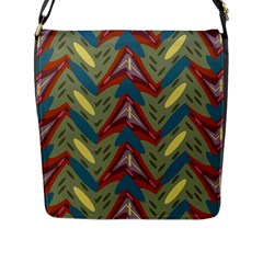 Shapes Pattern Flap Closure Messenger Bag (large) by LalyLauraFLM