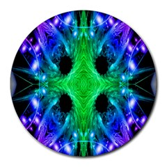 Alien Snowflake 8  Mouse Pad (round) by icarusismartdesigns