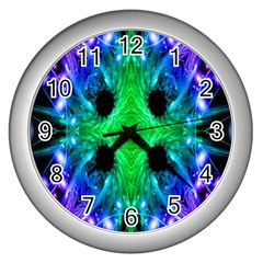 Alien Snowflake Wall Clock (silver) by icarusismartdesigns