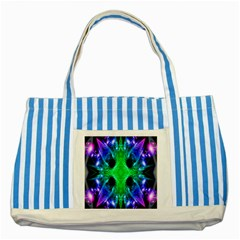 Alien Snowflake Blue Striped Tote Bag by icarusismartdesigns