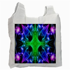 Alien Snowflake White Reusable Bag (two Sides) by icarusismartdesigns