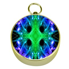 Alien Snowflake Gold Compass by icarusismartdesigns