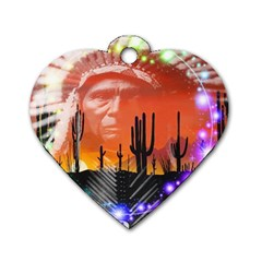 Ghost Dance Dog Tag Heart (one Sided)  by icarusismartdesigns