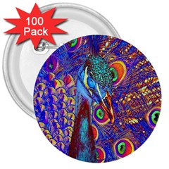 Peacock 3  Button (100 Pack) by icarusismartdesigns