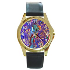 Peacock Round Leather Watch (gold Rim)  by icarusismartdesigns