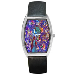 Peacock Tonneau Leather Watch by icarusismartdesigns