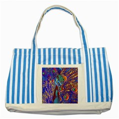 Peacock Blue Striped Tote Bag by icarusismartdesigns