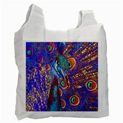 Peacock White Reusable Bag (one Side) by icarusismartdesigns