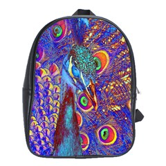 Peacock School Bag (large) by icarusismartdesigns