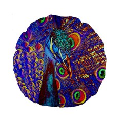Peacock 15  Premium Round Cushion  by icarusismartdesigns