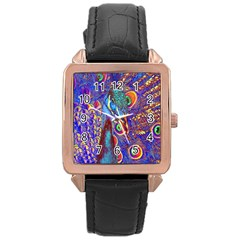 Peacock Rose Gold Leather Watch  by icarusismartdesigns