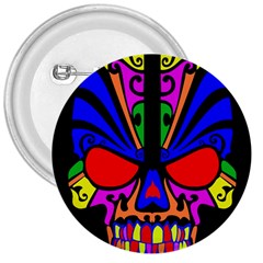 Skull In Colour 3  Button by icarusismartdesigns