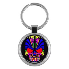 Skull In Colour Key Chain (round) by icarusismartdesigns