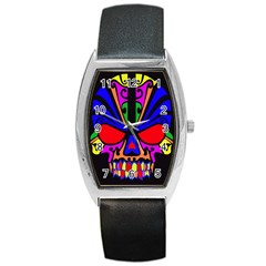Skull In Colour Tonneau Leather Watch by icarusismartdesigns