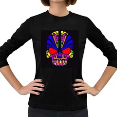 Skull In Colour Women s Long Sleeve T-shirt (dark Colored) by icarusismartdesigns