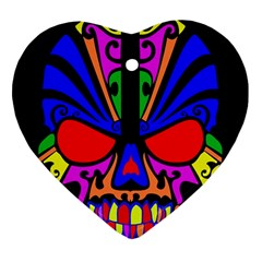 Skull In Colour Heart Ornament (two Sides) by icarusismartdesigns