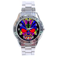 Skull In Colour Stainless Steel Watch by icarusismartdesigns