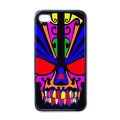 Skull In Colour Apple Iphone 4 Case (black) by icarusismartdesigns