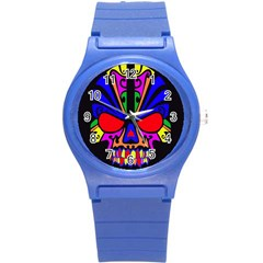 Skull In Colour Plastic Sport Watch (small) by icarusismartdesigns