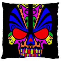 Skull In Colour Large Cushion Case (single Sided)  by icarusismartdesigns