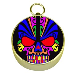 Skull In Colour Gold Compass