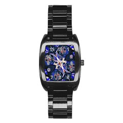 Decorative Retro Floral Print Stainless Steel Barrel Watch