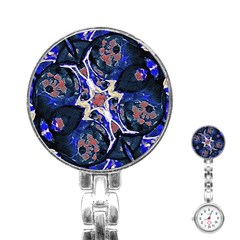 Decorative Retro Floral Print Stainless Steel Nurses Watch