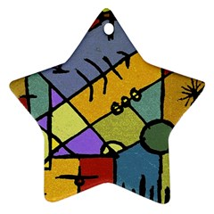 Multicolored Tribal Pattern Print Star Ornament by dflcprints