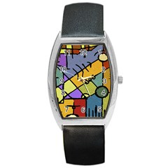 Multicolored Tribal Pattern Print Tonneau Leather Watch by dflcprints