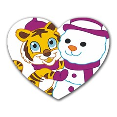Winter Time Zoo Friends   004 Mouse Pad (heart) by Colorfulart23
