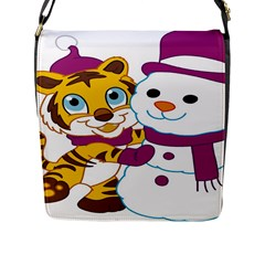 Winter Time Zoo Friends   004 Flap Closure Messenger Bag (large) by Colorfulart23