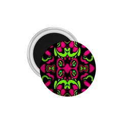 Psychedelic Retro Ornament Print 1 75  Button Magnet by dflcprints